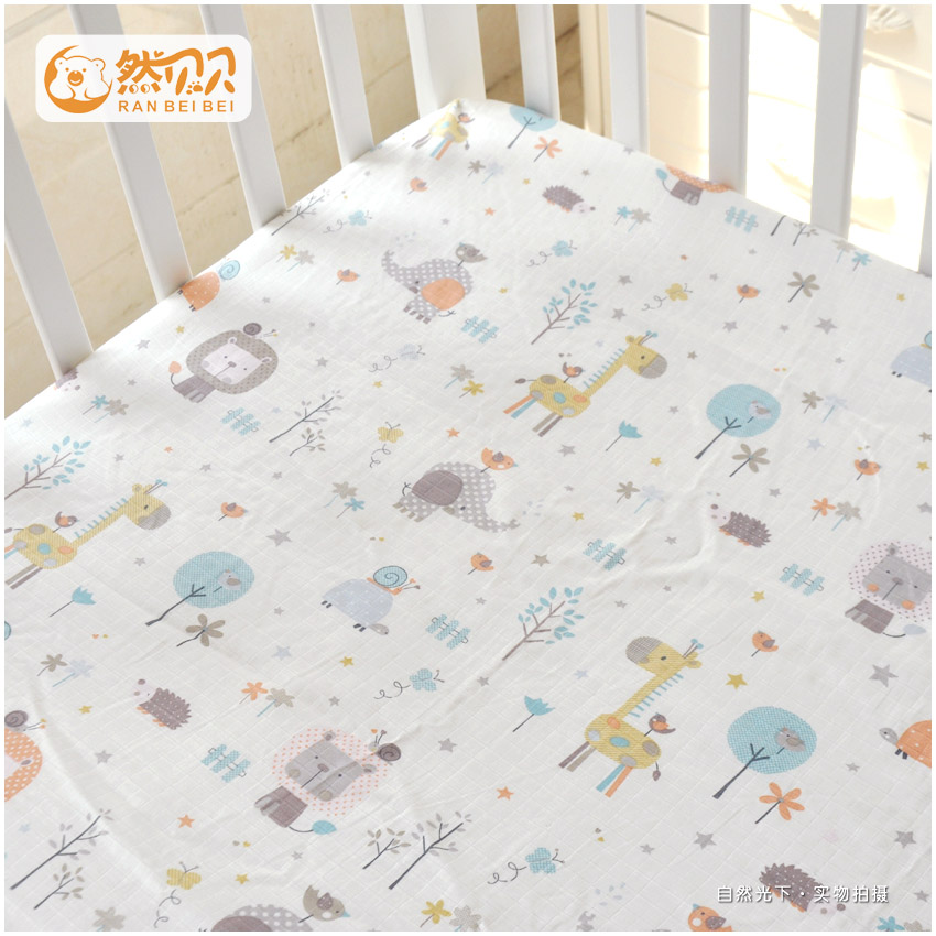 Beibei Double Layer Gauze Cotton Crib Bed 笠 Baby Cotton Sheets Newborn  Infant Child Bedding