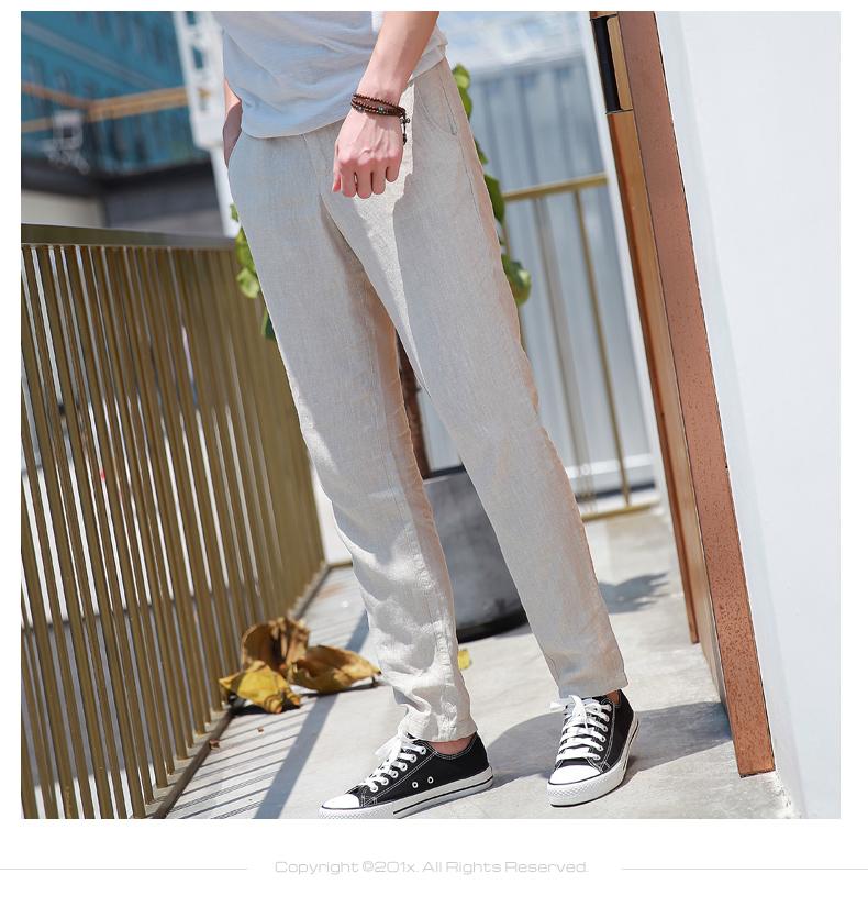 Hengyuanxiang quần âu nam mùa hè phần mỏng tự nhiên retro linen cotton chín quần trung eo phong cách Trung Quốc quần linen triều