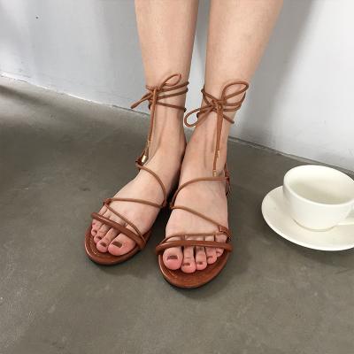 Korean minimalist hundred-strap women's shoes cross-tie PU leather Sandals Flats shoes summer tide