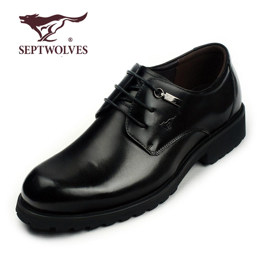 七匹狼正品软皮鞋大头鞋正装工装牛皮鞋真皮鞋子欧美厚底潮男商务