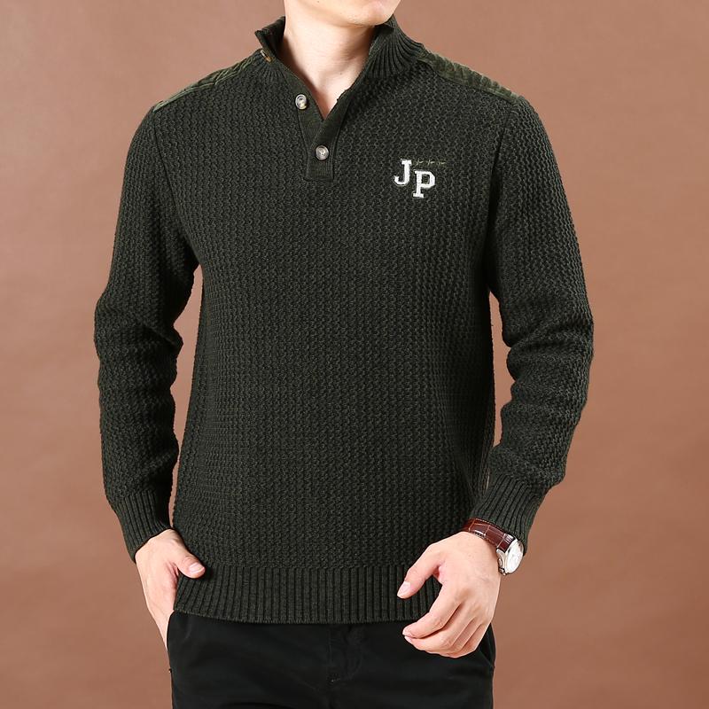 Mùa thu và mùa đông nam màu rắn dày kích thước lớn áo len lỏng nam jeep lá chắn áo thun cotton giản dị áo len - Hàng dệt kim