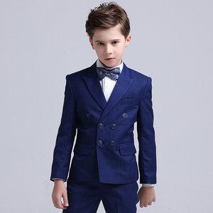 儿童西装18新款男花童礼服英伦格子双排扣小男孩西服男童西装套装