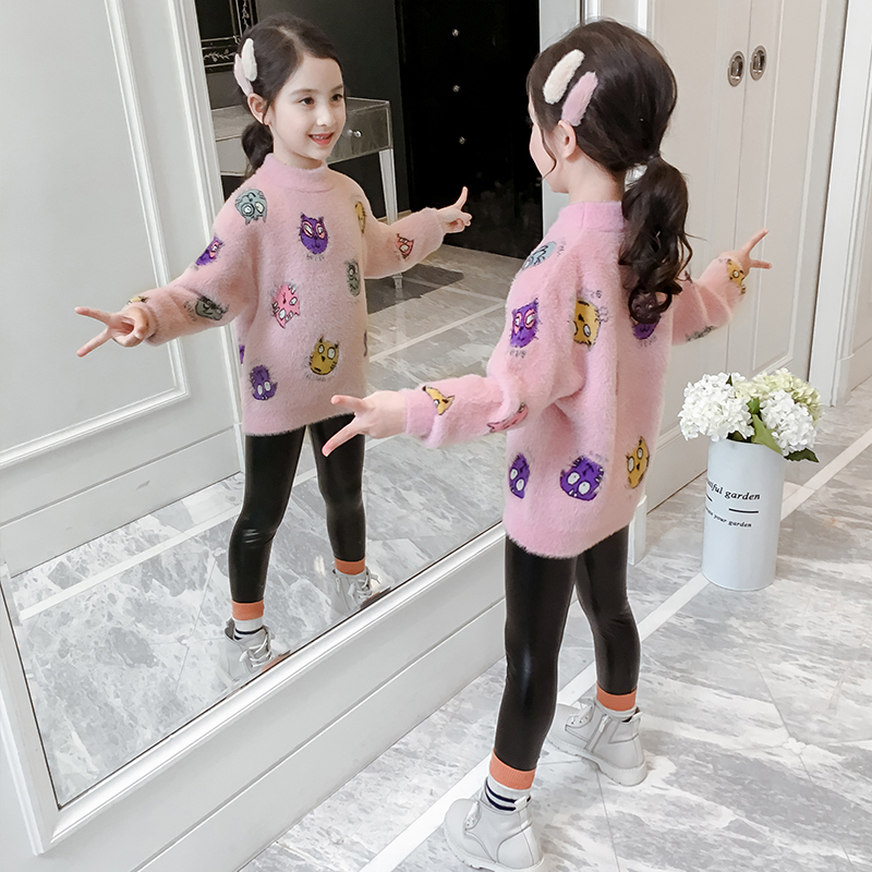Girls sweater otter velvet 2019 new autumn and winter models of foreign air in the big girl thickened head children's knitwear.