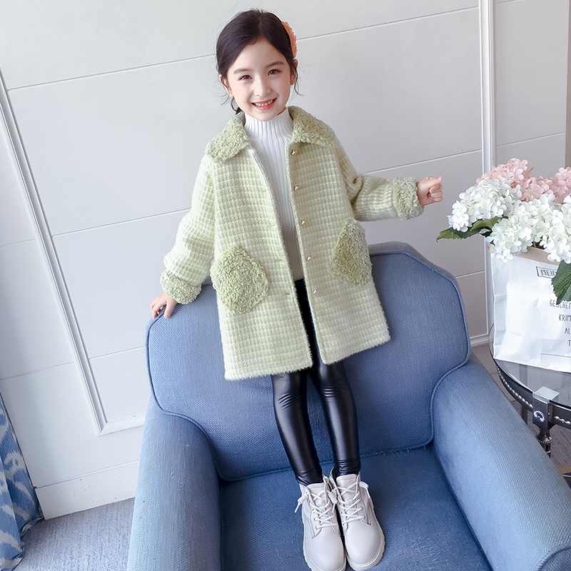 Girl's coat spring dress 2020 new foreign hair? Spring girl children's coat plus thick children's dress spring and autumn