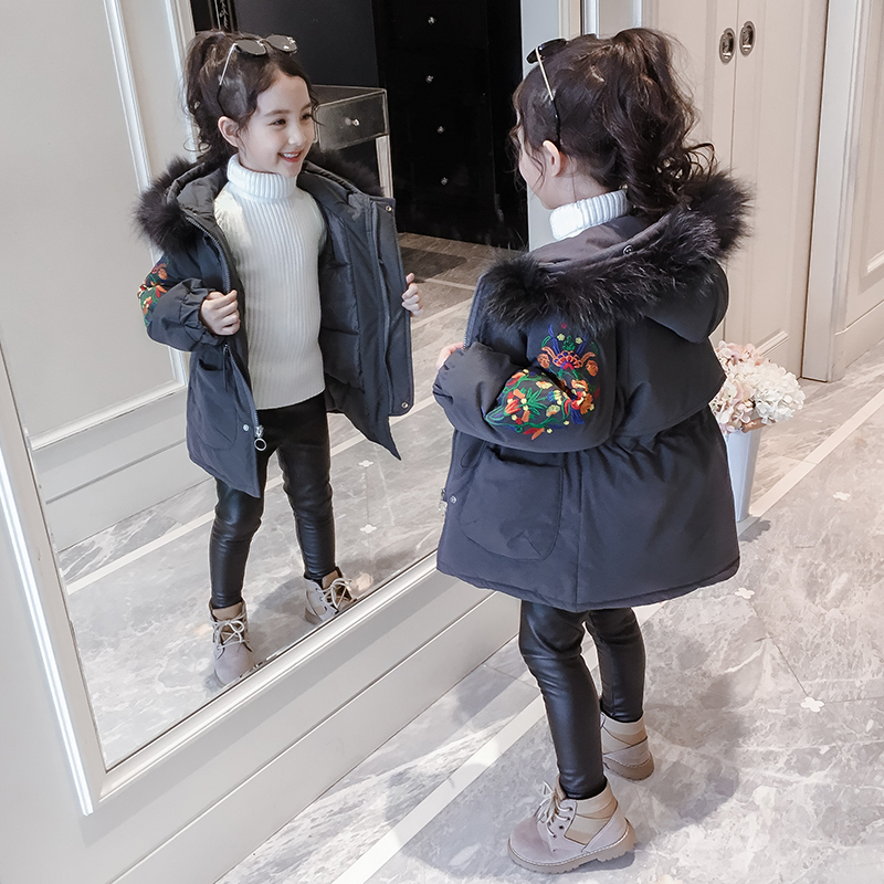 Girls cotton coat foreign-style winter suit jacket 2019 New Girl thickened children in the long section of down cotton
