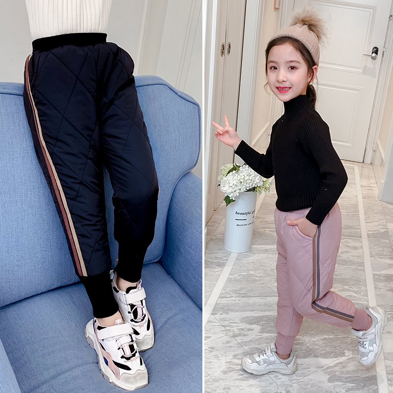 Girls pants 2019 new winter children's clothing with thick fleece warm cotton pants air down cotton outer wear long pants