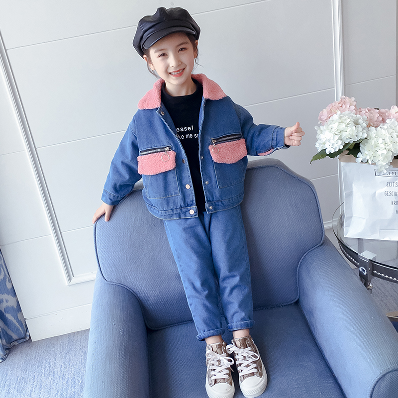 Girls denim suit plus velvet thickening autumn and winter 2019 New children's clothing children's autumn outfit little girl foreign gas two sets