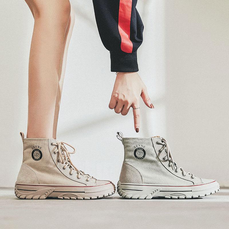 英伦风马丁靴女薄款高邦潮鞋2019秋季新款靴子高帮秋鞋帆布小短靴