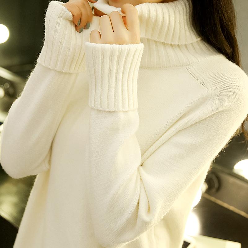 高领毛衣女秋冬韩版宽松中长款套头百搭针织打底衫学生时尚潮加厚