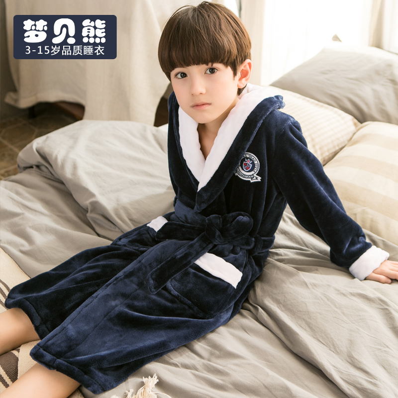 5b0b1f348bb5 Children s pajamas boys autumn and winter flannel nightgown large ...