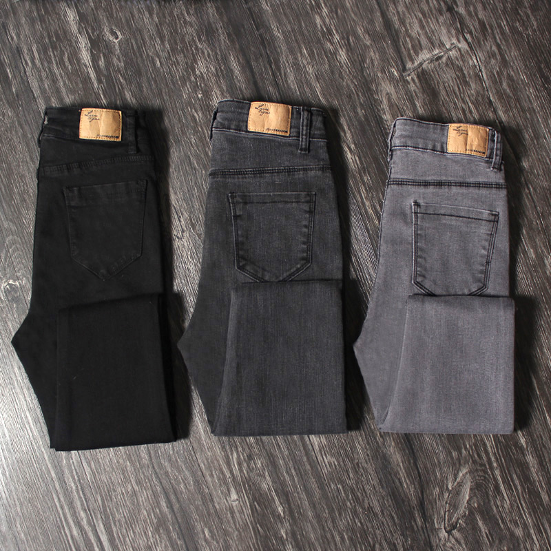 Black jeans women high waist tight 2019 spring and autumn Slim was thin smoke gray nine points feet pencil trousers