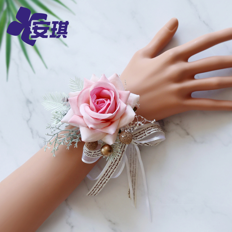 New eternal flower wrist flower simulation flannel rose bride bridesmaid hand knot wedding banquet sister wrist flower