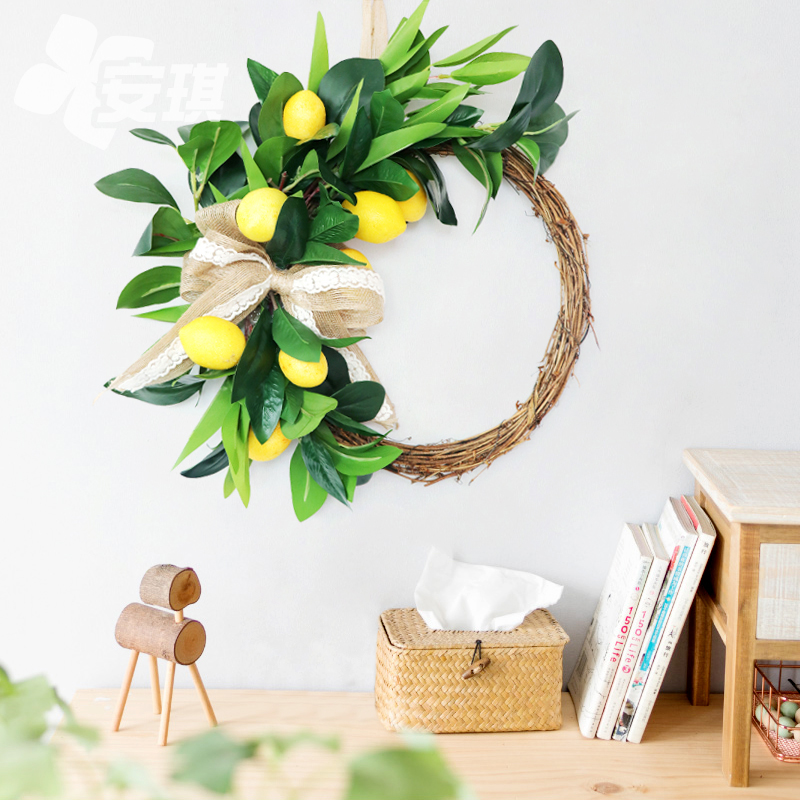 Simulation lemon garland door decoration Northern Europe ins style American wedding decoration home wall decoration flowers can be customized