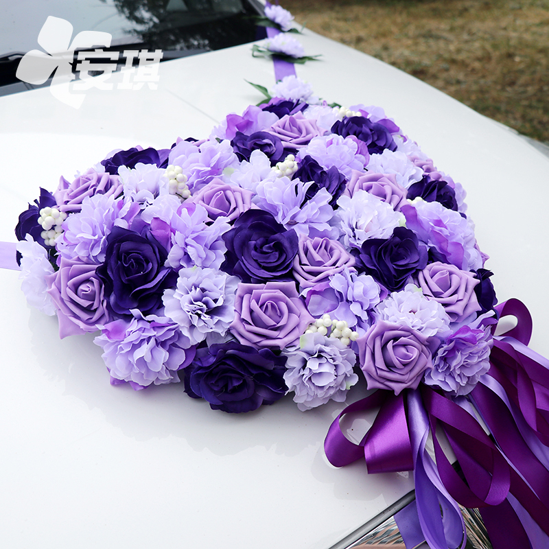 (Special price) Wedding front decoration set Wedding multi-color heart-shaped bride main wedding car flower decoration can be customized