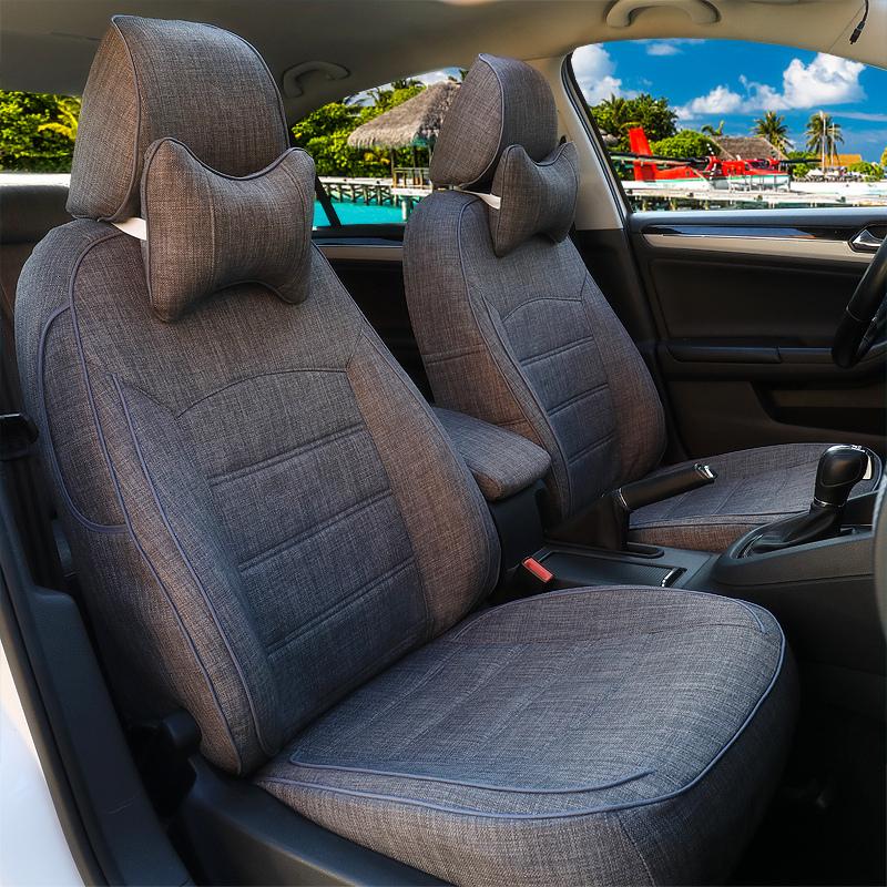 汽车通用标志亚麻东风标致301307308408四季2008全包坐垫座套