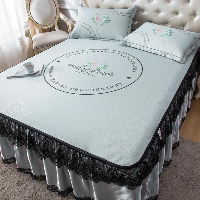 Mùa hè ren giường váy băng lụa 3 bộ ba mảnh 1,5 mét 1,8m giường điều hòa không khí mềm mat có thể tháo rời máy giặt - Thảm mùa hè
