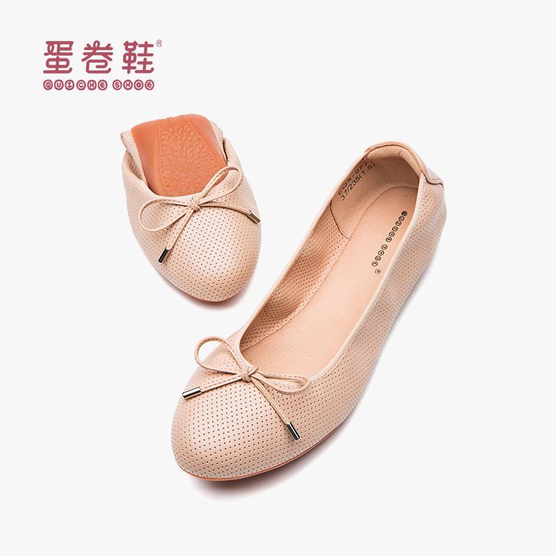 单鞋鞋女2019新款春季舒适平底鞋软底圆头蝴蝶结浅口百搭韩版蛋卷