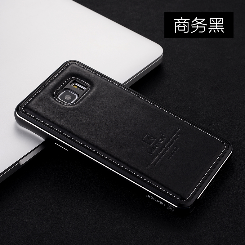 iMatch Luxury Aluminum Metal Bumper Premium Genuine Leather Back Cover Case for Samsung Galaxy Note 5 N9200