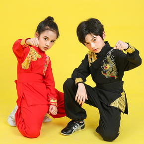 Children martial arts clothing long and short sleeve dragon embroidery sequins men and women youth group Chinese kung fu training clothing performance clothing