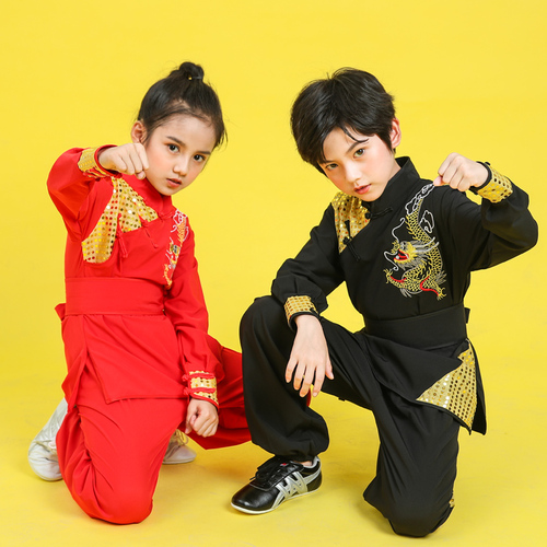 Boys Martial arts Kungfu & Tai-Chi Uniforms for Girls Children martial arts clothing long and short sleeve dragon embroidery sequins men and women youth group Chinese kung fu training clothing