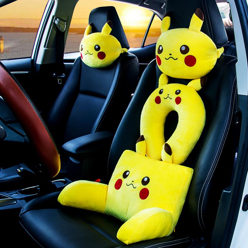 头枕靠枕黄色卡通车用座椅颈枕护颈枕一对车枕靠垫腰靠汽车可爱枕