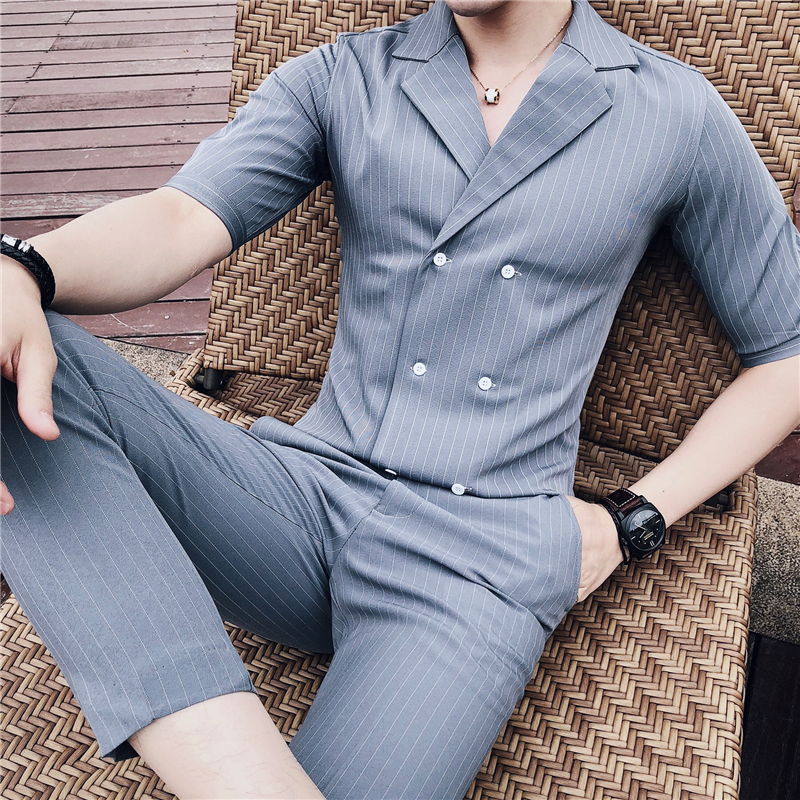 夏季薄款中袖条纹双排扣西装领衬衫男修身发型师时尚夜场套装潮男
