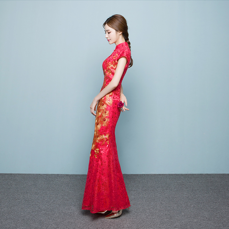 Toast Bride Spring 2018 new red cheongsam large tail chinese wedding dress female self-cultivation catwalk
