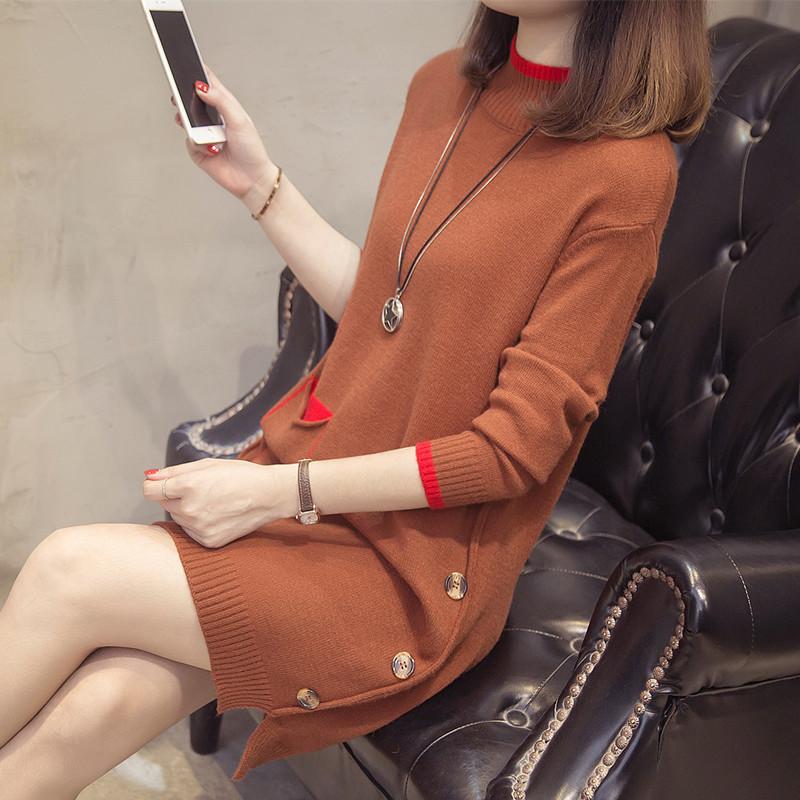 2018韩版宽松开叉袖口打底女毛衣中长款秋冬纽扣撞色女装针织衫