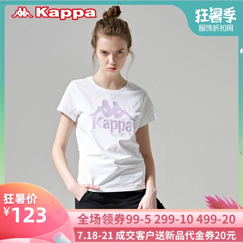 Kappa卡帕女休闲圆领T恤背靠背夏季运动短袖半袖棉T19新K09220922TD08