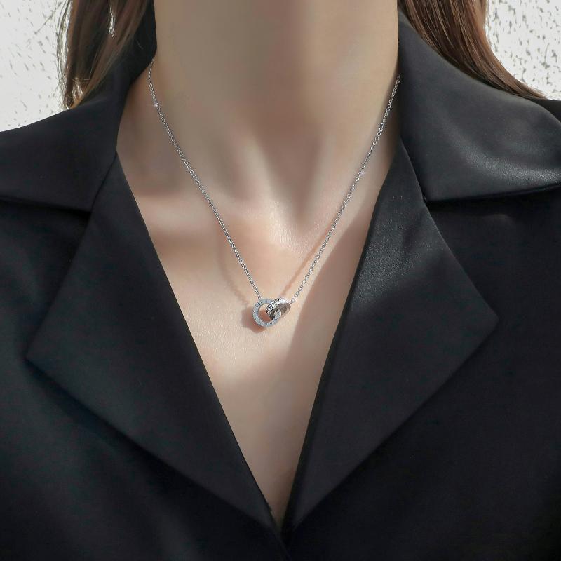 【璐菲】钛钢罗马圆环项链新款锁骨链