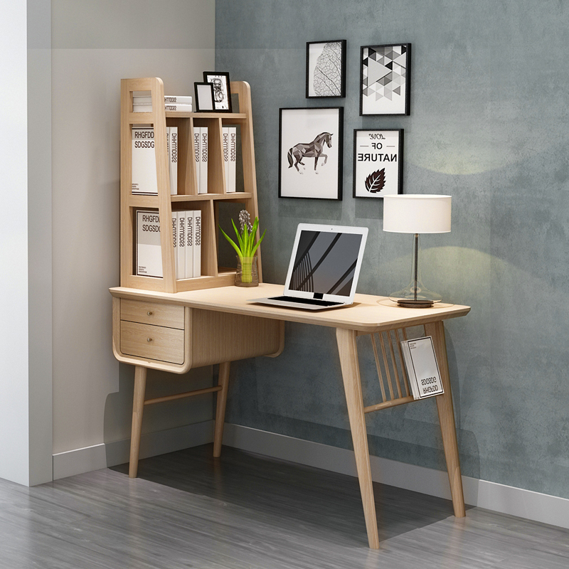 Desk + bookshelf  wood color