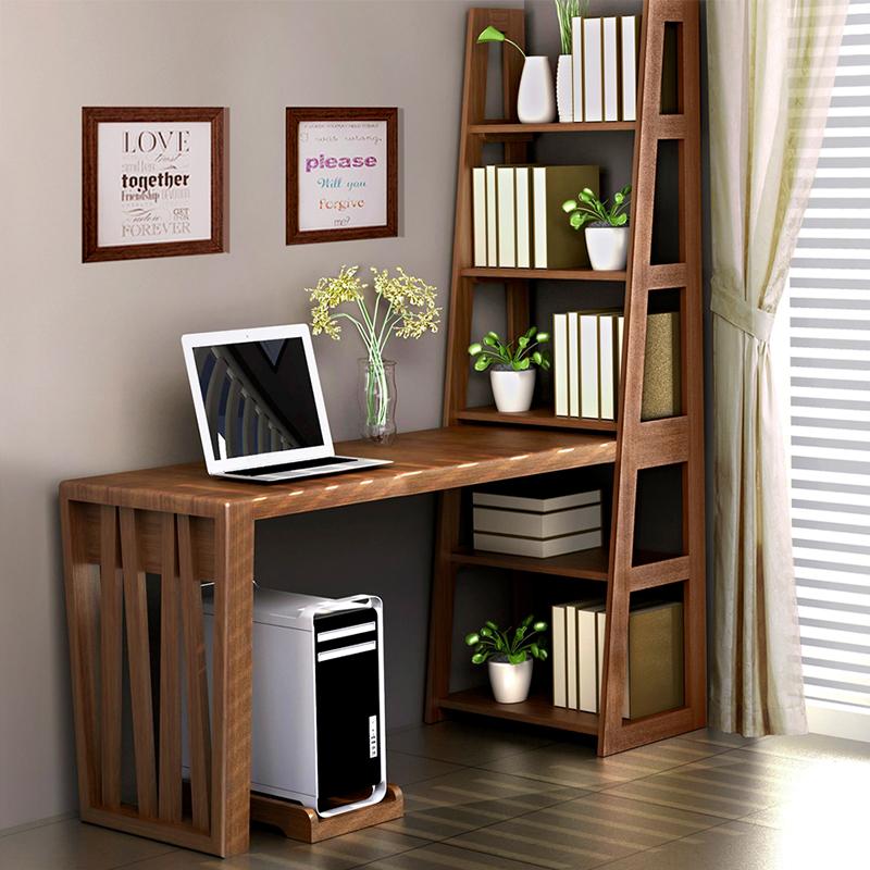 Полностью Мебель из массива дерева простой убирающийся кабинет исследования спальня соединенный стол с книжной полкой домашний компьютер писать слово стол