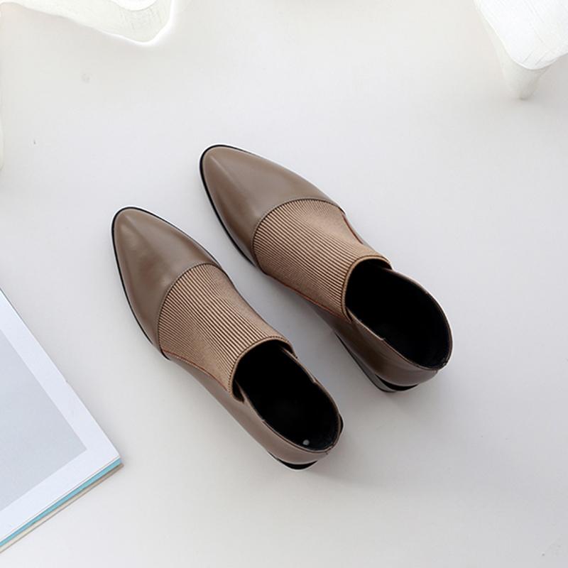 深口小短靴子春秋女鞋2020新款百搭粗跟及踝靴单靴真皮女靴马丁靴