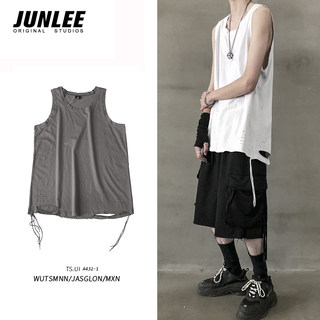Little bear men's summer ripped sleeveless T-shirt male Korean version of the trend of the waistcoat bottoming vest solid color wild top