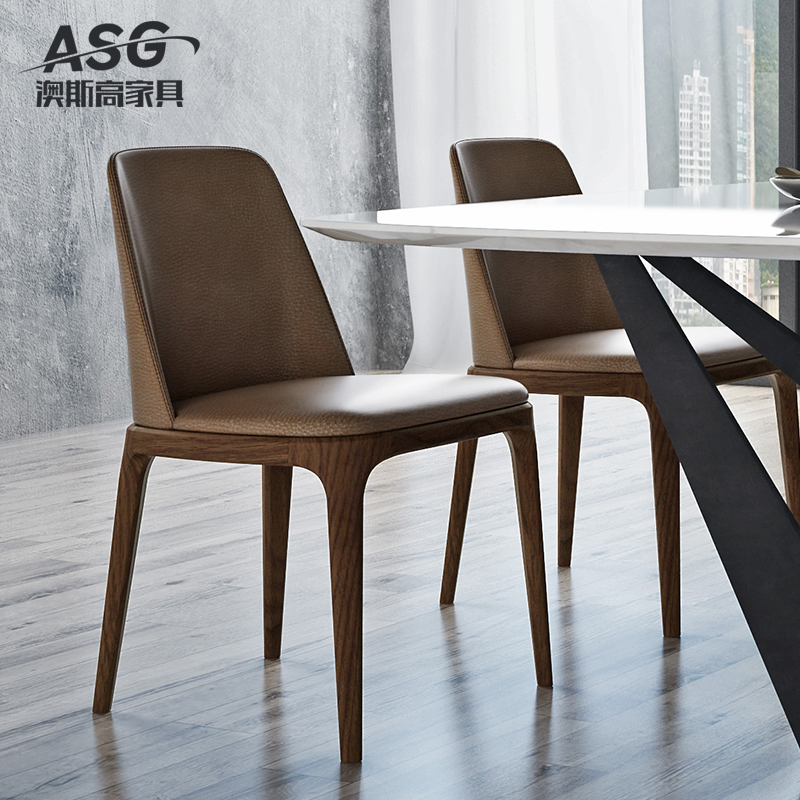 Ausgau Nordic Ash Wood Dining Chair Walnut Color Modern Minimalist  Restaurant Table Dining Table Chairs