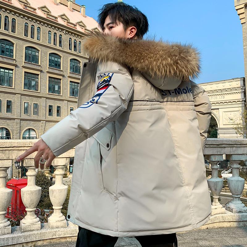 冬季男装棉服外套中长款毛领棉衣棉袄