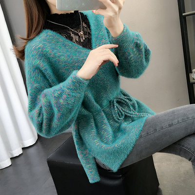 Ladies sweater women 2020 new hot style knitted fake two-piece tops lace bottoming shirt women autumn and winter fashion trend