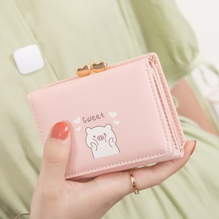 Ladies wallet short paragraph student Japanese ins girl 2020 Korean version of the new cute cartoon retro small coin purse