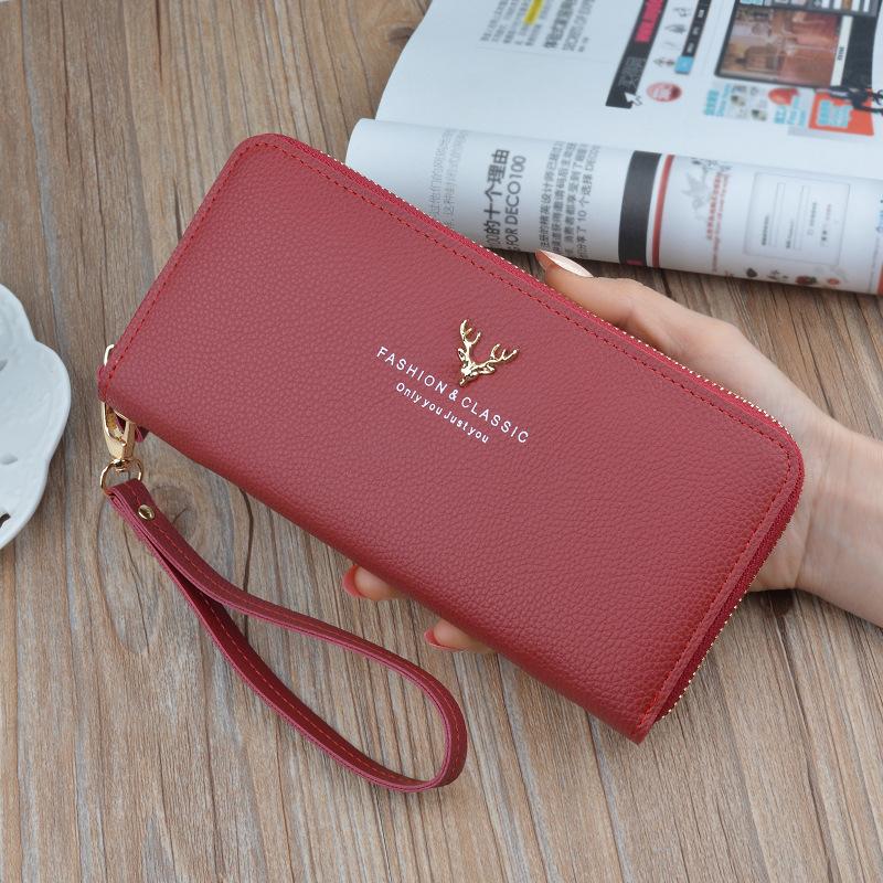 女士拉链女长款手拿包2019新款皮夹多功能长款大容量钱包手机包