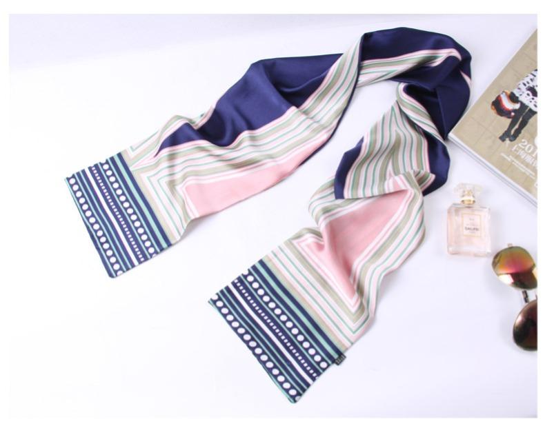 小丝巾女士春秋季百搭长条方巾薄款领巾细窄围巾长款纱巾领带装饰商品详情图