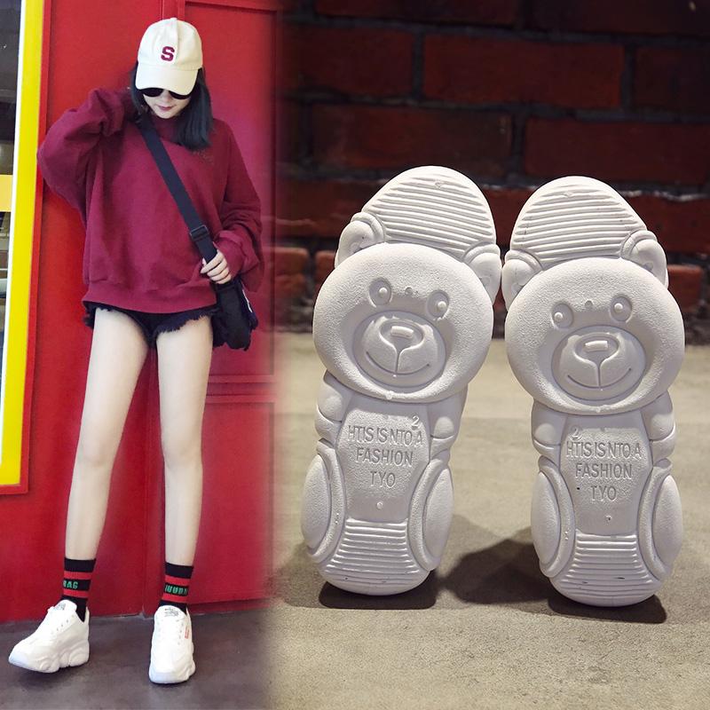巧爱曼老爹鞋女2019新款网红小熊鞋女智熏运动鞋熊猫休闲小白鞋女