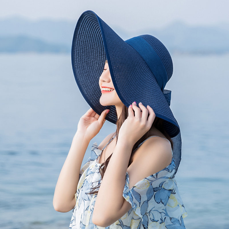 d503c0e9 Beach hat female summer seaside straw hat travel vacation sun visor large  wide along the sun hat cool cap collapsible