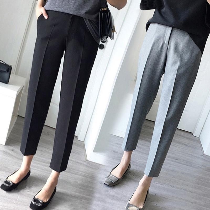 【嫦姿】韩版宽松显瘦直筒烟管裤