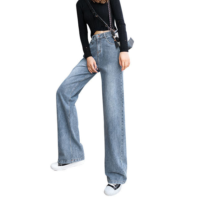 Jeans female straight loose loose mottled thin elegant spring 2020 new wild wide leg pants high waist drape