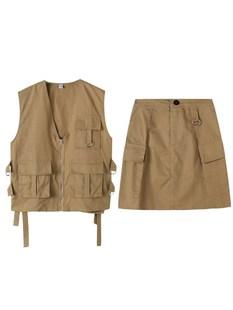 2019新款工裝裙套裝女潮學生長裙日系夏季休閒半身韓版復古薄款