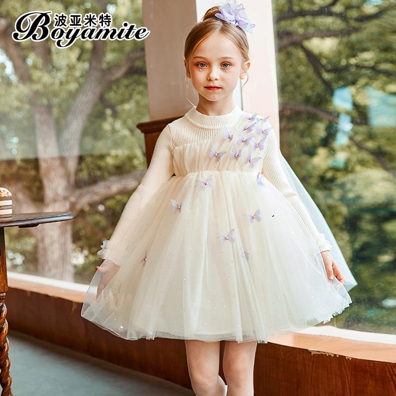 女童贝儿公主裙秋冬2021新款儿童洋气长袖连衣裙小女孩秋装毛衣裙