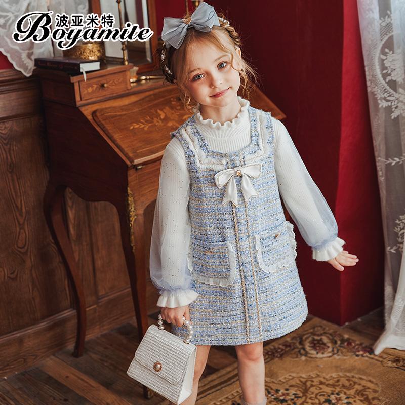 女童小香风公主裙套装秋冬2021新款儿童洋气连衣裙宝宝秋装两件套