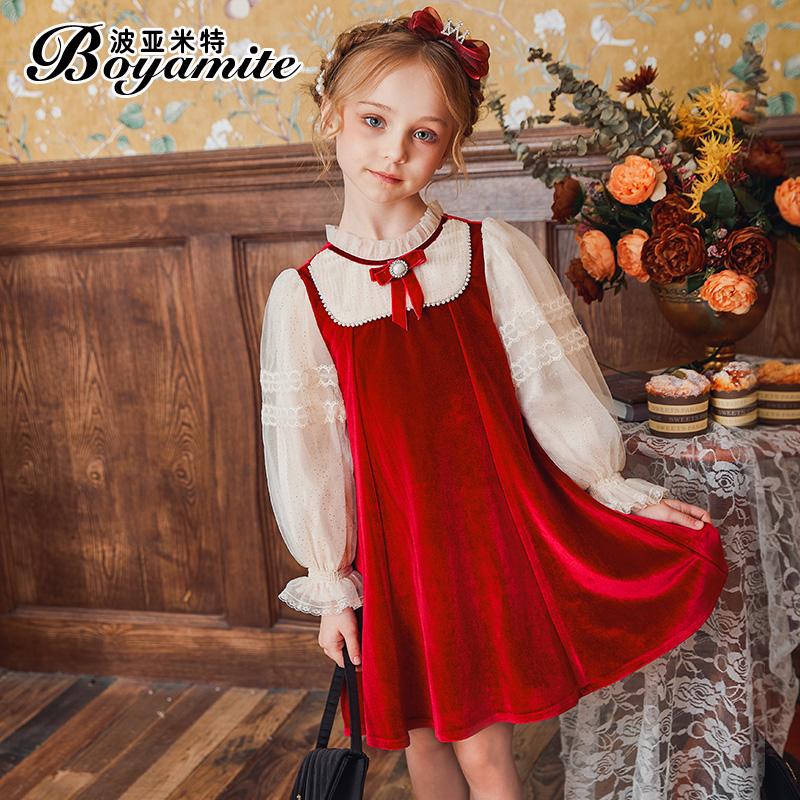 女童法式公主裙秋装2021新款儿童洋气连衣裙宝宝秋季红色丝绒裙子