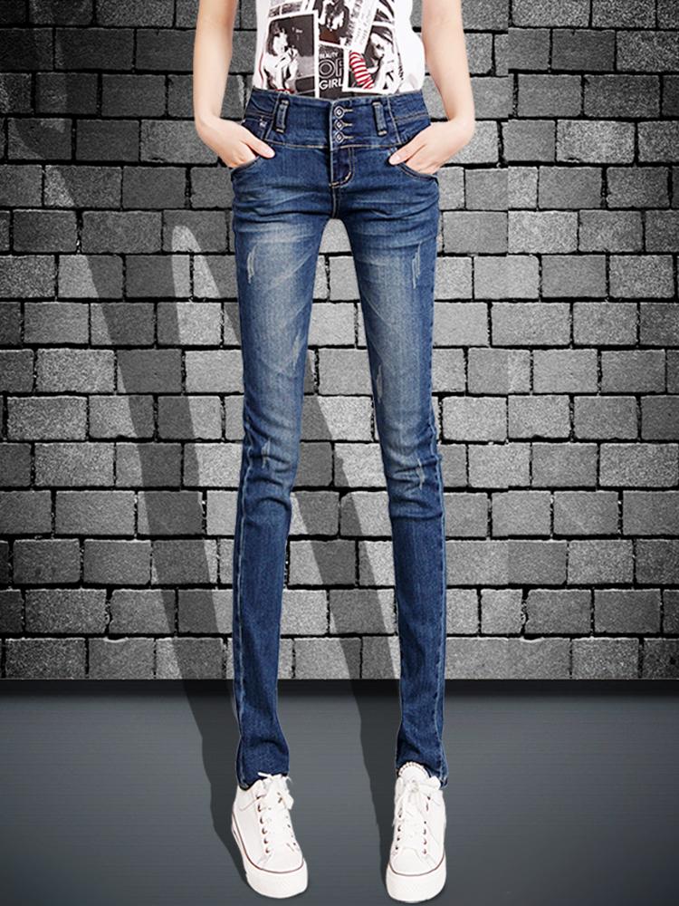 Plus Velvet was thin 2019 new autumn high waist jeans women's autumn and Winter small feet slim ladies pants tight pants
