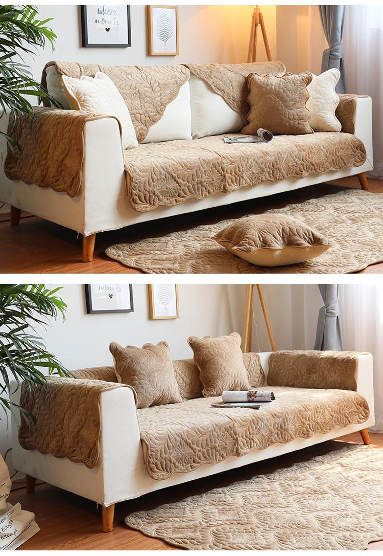 九隻猫冬季简约现代法兰绒沙发垫坐垫布艺短毛绒沙发套巾防滑定做详细照片